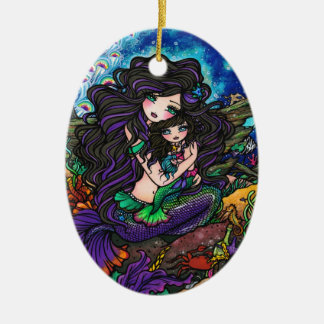 Mermaid Mom and Baby Underwater Art by Hannah Lynn Christmas Ornament