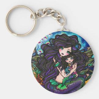Mermaid Mom & Baby Jellyfish Fantasy Art Keychain