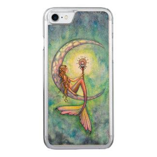 Mermaid Moon Fantasy Art iPhone 6 Wood Carved iPhone 8/7 Case