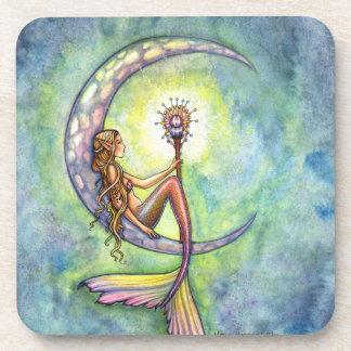 Mermaid Moon Watercolor Mermaid Molly Harrison Art Coasters