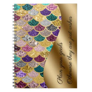 Mermaid Multicolor Gold Metal Sparkle Set Goals Spiral Notebook