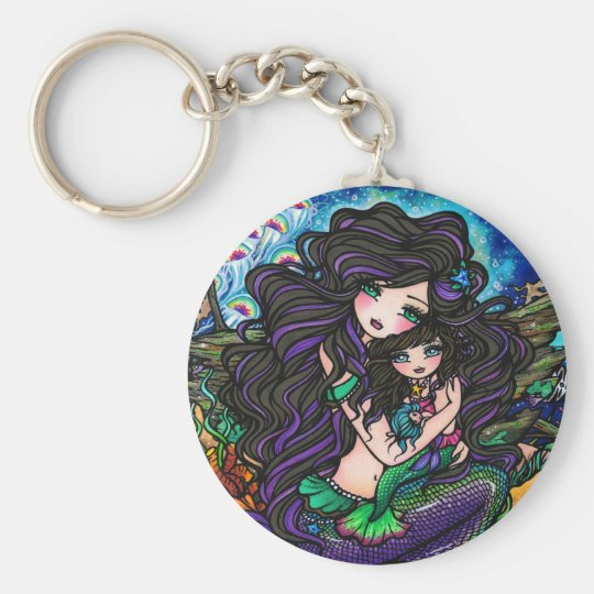 Mermaid Mum & Baby Jellyfish Fantasy Art Keychain