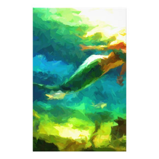 mermaid, ocean, fantasy, little, fish customized stationery