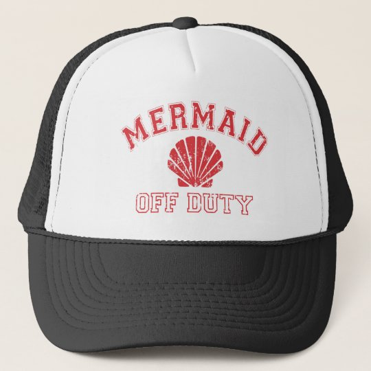 Mermaid Off Duty Distressed Vintage Trucker Hat