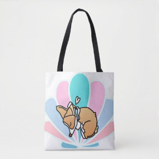 MERMAID OFF DUTY. SLEEPING CORGI. TOTE BAG