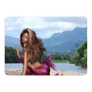 Mermaid on a Sandbar 13 Cm X 18 Cm Invitation Card