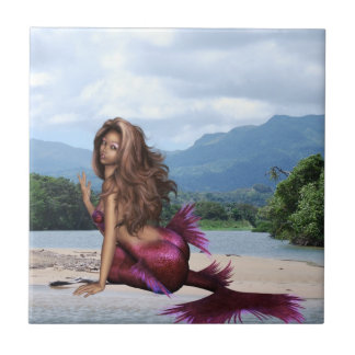 Mermaid on a Sandbar Tile