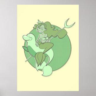 Mermaid On a Seal: Print