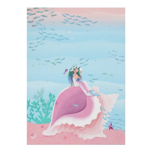 Mermaid on a Shell pastel colour poster