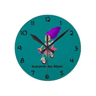 Mermaid on Bike Round Clock