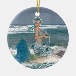 Mermaid on Rock Round Ceramic Decoration