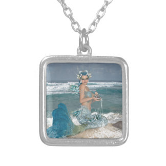 Mermaid on Rock Silver Plated Necklace