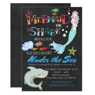 Mermaid or Shark Co-Ed Joint Birthday Card