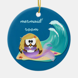 mermaid owl christmas ornament