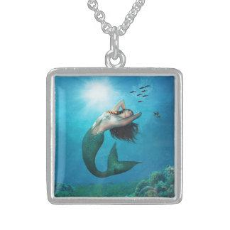 mermaid passion square pendant necklace