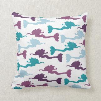 mermaid pattern throw pillow, accent decor cushion