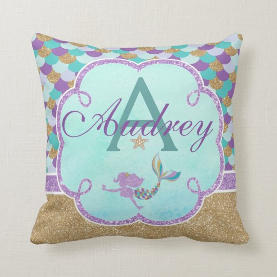 Mermaid Personalised Monogram Pillow Name