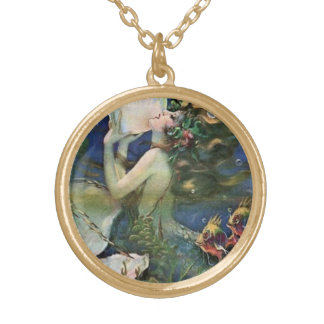 Mermaid Pin Up Girl Vintage Art Gold Plated Necklace