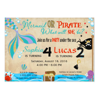 Mermaid & Pirate Birthday Brother & Sister Party Card