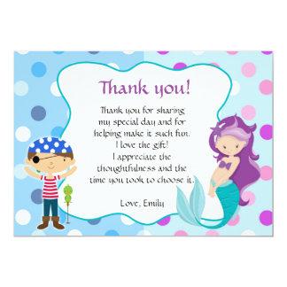 Mermaid Pirate Under The Sea Thank You Card 13 Cm X 18 Cm Invitation Card