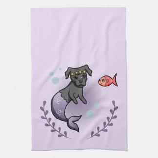 Mermaid Pit Bull 2 Tea Towel