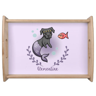 Mermaid Pit Bull 2 with Name Serving Tray