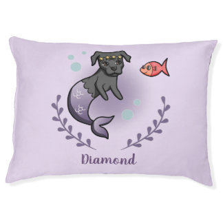 Mermaid Pit Bull 2 with Pet's Name Pet Bed