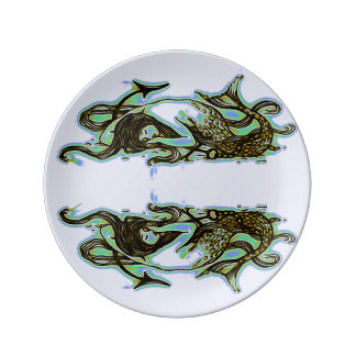 Mermaid Porcelain Plate Green