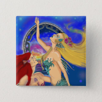 Mermaid Portal Digital Sunset 15 Cm Square Badge