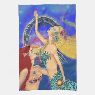 Mermaid Portal Digital Sunset Tea Towel
