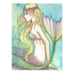 Mermaid Postcard Rainbow Tail by Molly Harrison