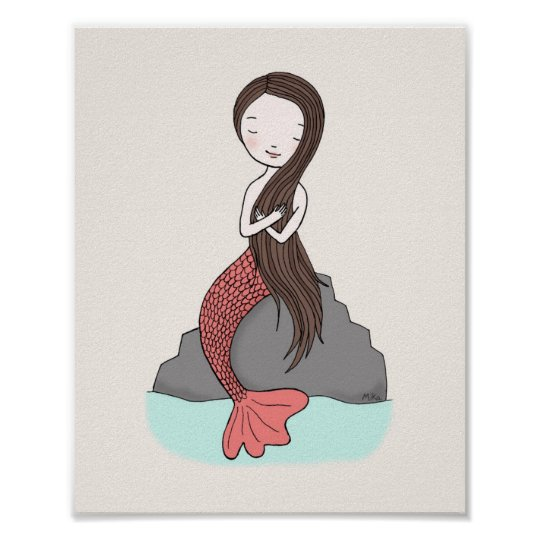 Mermaid Poster Cute Mermaid Nursery Art Girls Room