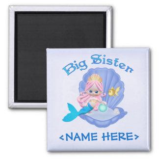 Mermaid Princess Big Sister Square Magnet
