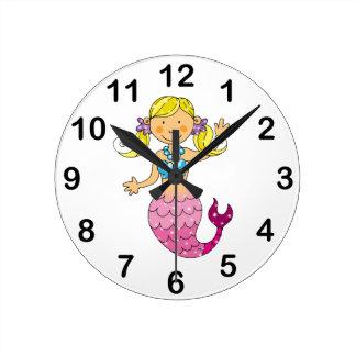 mermaid princess (blonde hair) round clock