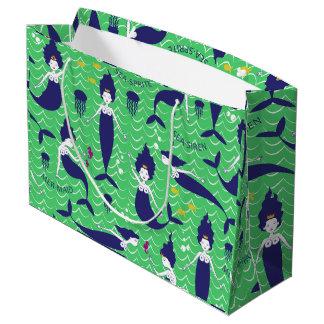 Mermaid Princess gift bag in green/navy