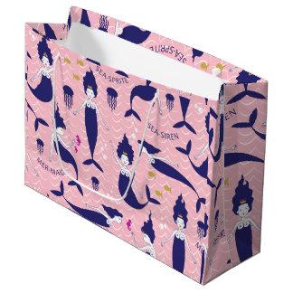 Mermaid Princess gift bag in pink/navy