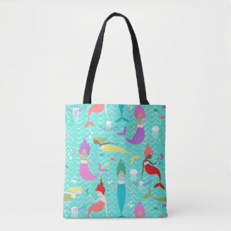 Mermaid Princess Tote in Teal/Multi