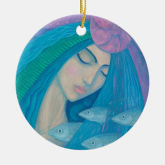 Mermaid Princess, Underwater Fantasy, Pink Blue Christmas Ornament
