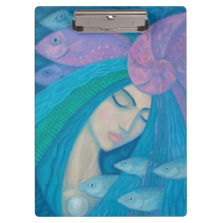 Mermaid Princess, Underwater Fantasy, Pink Blue Clipboard