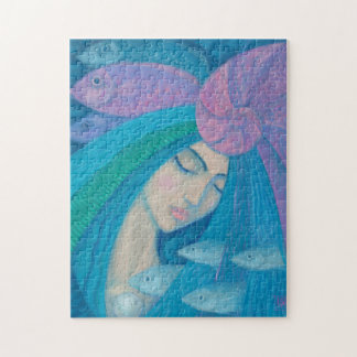 Mermaid Princess, Underwater Fantasy, Pink Blue Jigsaw Puzzle