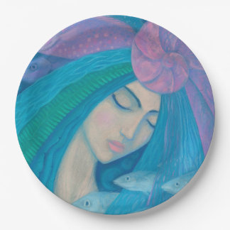 Mermaid Princess, Underwater Fantasy, Pink Blue Paper Plate