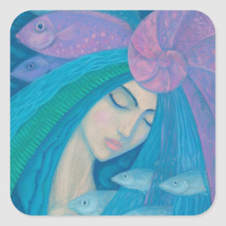 Mermaid Princess, Underwater Fantasy, Pink Blue Square Sticker