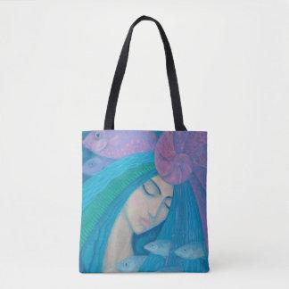 Mermaid Princess, Underwater Fantasy, Pink Blue Tote Bag