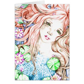 Mermaid Princess Watercolor Card