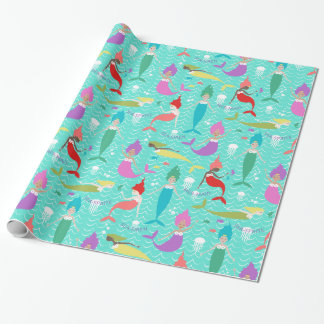 Mermaid Princess Wrapping Paper in Teal/Multi