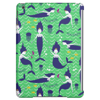 Mermaid Printed Ipod Air case in green/navy