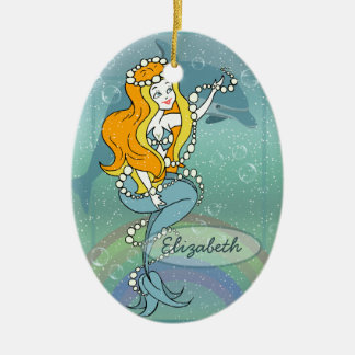 Mermaid Rainbow and Dolphin Illustration Design Ceramic Oval Decoration