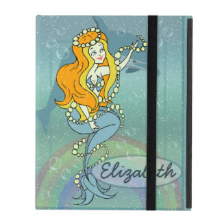Mermaid Rainbow and Dolphin Illustration Design iPad Case