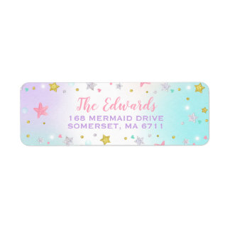Mermaid Return Address Labels Under The Sea Party