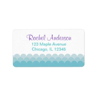mermaid return address labels, water ocean waves address label